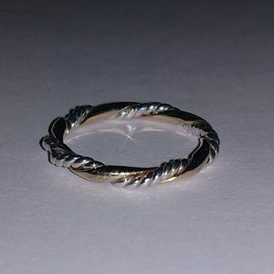 Sterling silver and gold twisted band size 8
